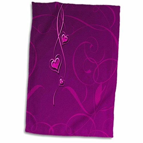 Heart 3 Dangling - 3D Rose Elegant Dangling Hearts On Vine Design - Fuschia Pink Hand/Sports Towel 15 x 22