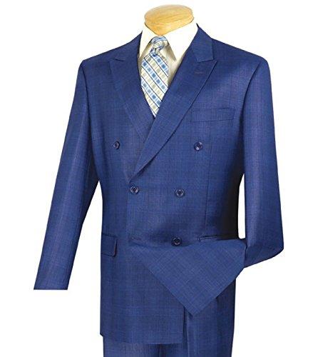 Vinci Men's Glen Plaid Double Breasted 6 Button Classic-Fit Suit New [Color Blue | Size: 42 Regular/36 Waist] (Check Wool 2 Button Suit)