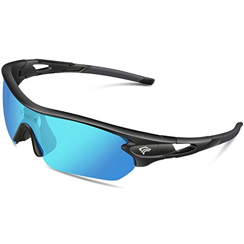 Torege Polarized Sports Sunglasses With 5 Interchangeable Lenes for Men Women Cycling Running Driving Fishing Golf Baseball Glasses TR002 (Black&Ice blue - Brands Best Sunglasses Female