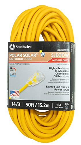 (Coleman Cable 14880002 1488SW0002 14/3 Insulated Outdoor Extension Cord with Lighted End, 50-Foot,)