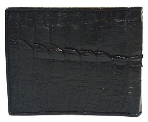 (Authentic M Crocodile Skin Men's Bifold Crocodile Tail Skin Leather Wallet (Black))