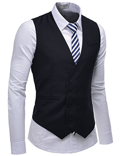 NEARKIN (NKNKVE603 Beloved Mens Double Breasted 8 Button Classic Formal Waistcoat Black US XS(Tag Size XS)
