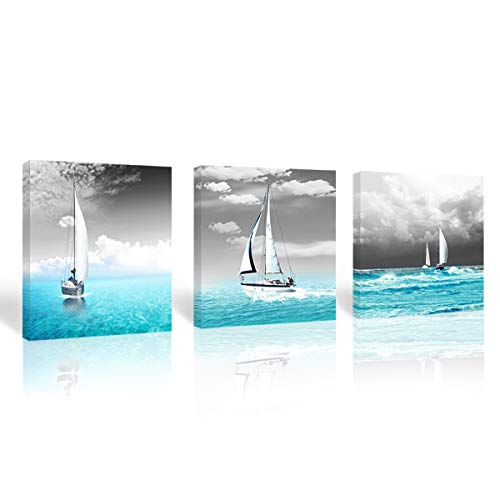 Sailing Boat on ocean landscape painting large Canvas Print Wall Art black White sky blue sea Pictures modern Home Decoration Artwork for office Living Room Bedroom wall decor-20x20 in 3 Panels Framed