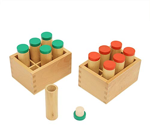 Wumudidi Montessori Sensory Teaching Aids, Version 12Pcs Sound Tube and 2 Storage Racks to Cultivate Children's Concentration and Hearing