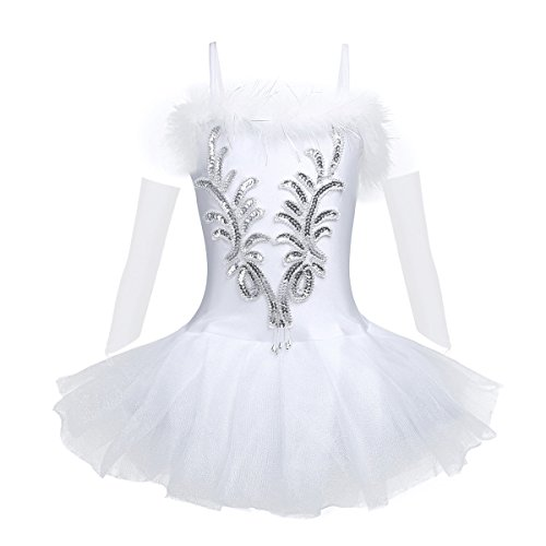 iEFiEL Girls Sequined Beads Swan Costume Ballet Dance Leotard Spaghtetti Tutu Dress with Gloves Hair Clip White 7-8 -