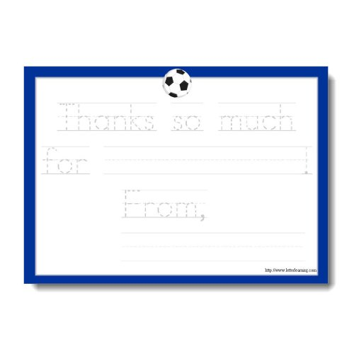 Soccer Thank You Notes for Kids with Traceable, Fill in the Blank Message ([12] 7