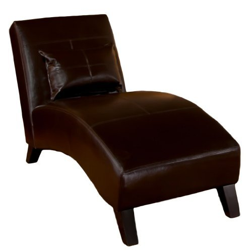 Great Deal Furniture 234475 Laguna Brown Leather Curved Chaise Lounge Chair and Pillow