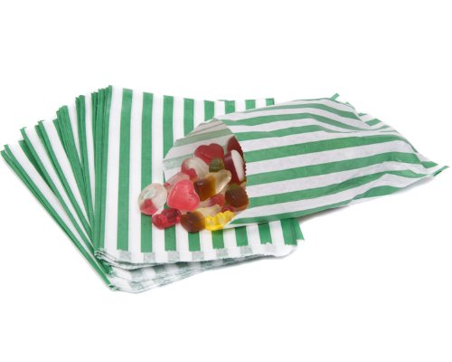 bag it Plastics Green Candy Stripe Paper Sweet Bags 5″ x 7″ – Pack of 500