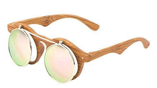 Faux Wood Frame Iridium Mirror Lenses Flip Up Sunglasses (Wood Frame, Green / Pink Iridium - Wood Faux Sunglasses