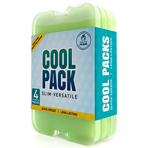 Healthy Packers Ice Pack for Lunch Box - Freezer Packs - Original Cool Pack | Slim & Long-Lasting Ice Packs for Your Lunch or Cooler Bag (4- Pack) (Lunchbox Ice Pack)
