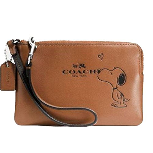 Coach Ladies 65193 X Peanuts Corner Zip Wristlet Calf Leather by Coach