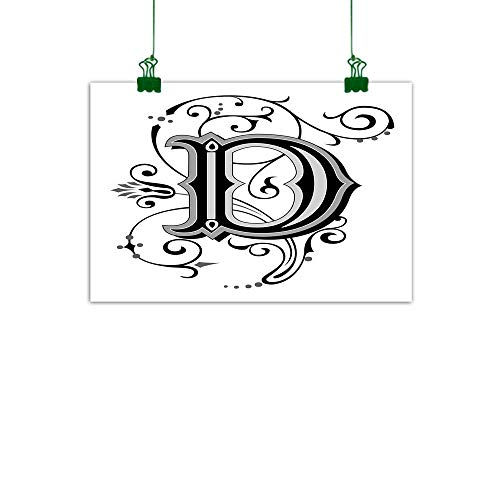 J Chief Sky Letter D Wall Decor Initial Letter from Medieval Scrolls Capital D Symbol Medieval Design Print Canvas Art for Wall W 36