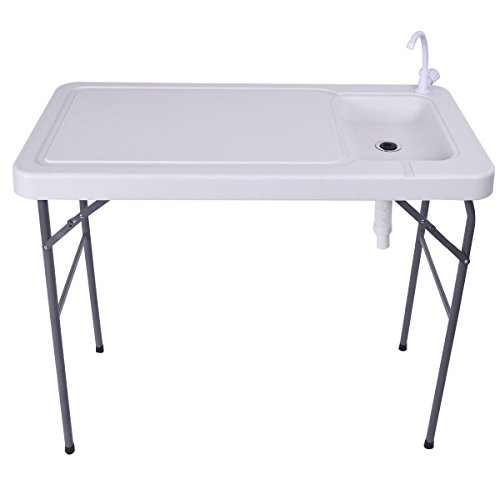 New 2017 Folding Portable Fish Table Hunting Cleaning Cutting Camping Sink Faucet