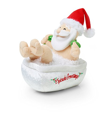 Animated Bathing & Singing Christmas Santa - Red / (Animated Singing Santa)