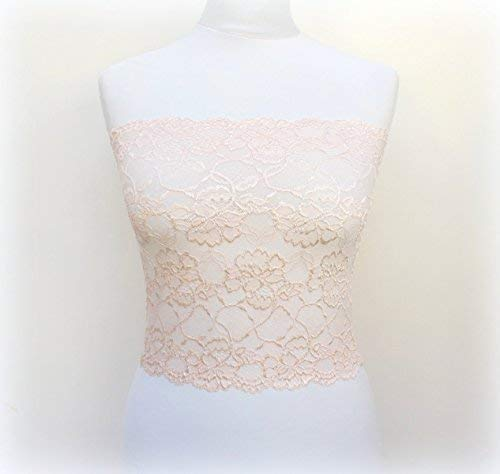 818275c9a4 Amazon.com  Light Pink Lace Bandeau Top. Pink Lace Strapless. Floral Lace Tube  Top. Pink Lace Lingerie. Gift For Her.  Handmade
