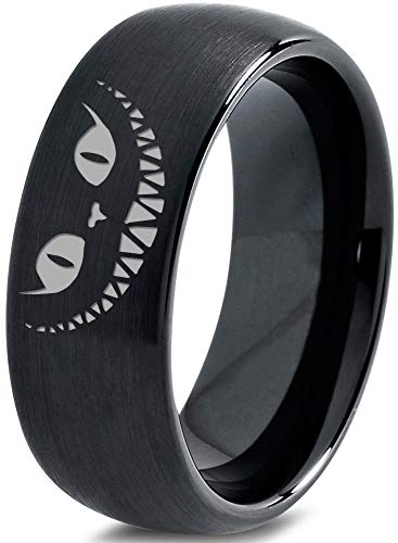 Zealot Jewelry Tungsten Alice in Wonderland Cheshire Cat Band Ring 8mm Men Women Comfort Fit Black Dome Brushed Polished Size - Ring Cat Wedding
