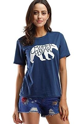 Amzmem Casual Top Short Sleeve Plus Size Letter Print Mama Bear T Shirt Blouse
