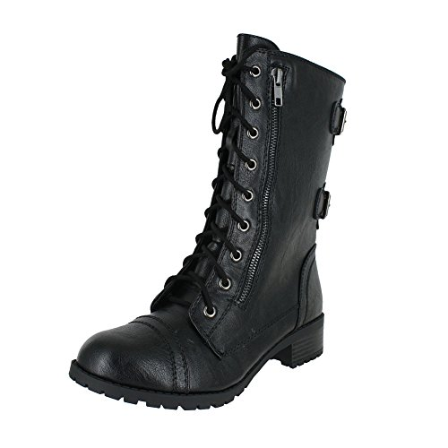 Soda Dome Mid Calf Height Women's Military / Combat Boots, Black, 8.5 -