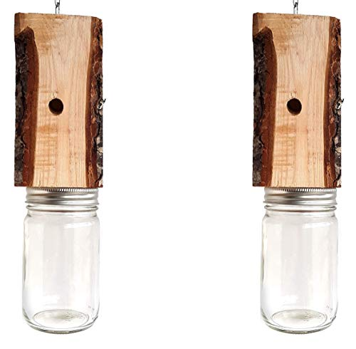 (Mac's LLC Carpenter Bee Trap Natural Wood with Bark Set of Two)