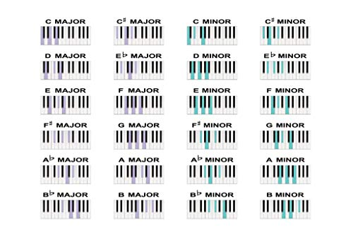 (Laminated Music Piano Chords Major Minor Scale Notes Educational Chart Sign Poster 18x12 inch )