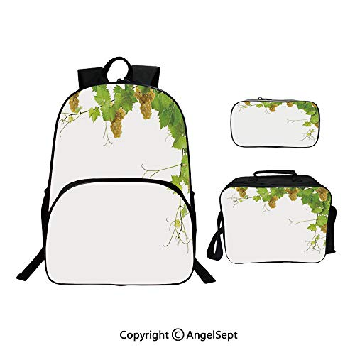 - Hot Sale School Backpack For Girls 3 pcs per set,Collage of Wine Leaves on Bunch Farming Natural Rural Food Berry Image Green Yellow,With Lunch Box Pencil Bag Very Convinent