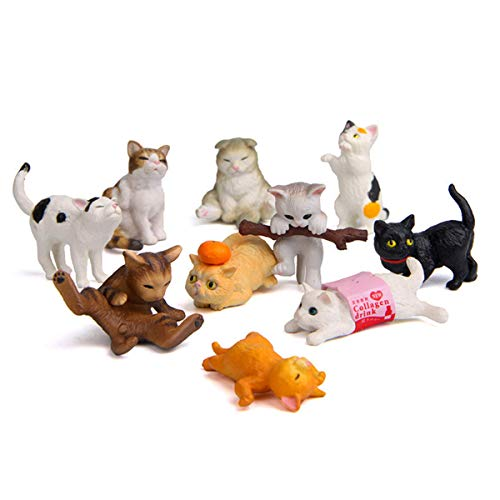 Beauy Girl 10 Pcs Deluxe Cat Figurines Playset, Cute Cat Figures, Mini Cat Figure Collection Playset, Cupcake Topper