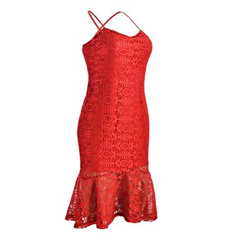 Ocasión Falda la Pescado de Vestidos Bandage Rojo de Vendaje Encaje Mujeres de Boda Cola Las Fiesta de ZFApxqHSw