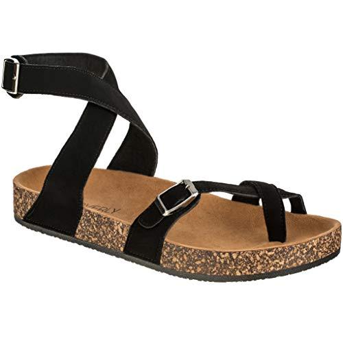 CLOVERLY Women's Sandals Slip On Ankle Wrap Cork Sole Footbed Platform Slide Sandal with Buckle (9 M US, Black)