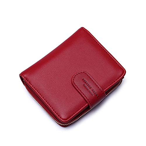 (Wallets for Women, Women Small Wallet Lady Short Wallet Bifold Leather Multi-purpose Wallet with ID Window (A-Wine)