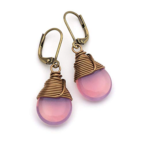 Milky Pink Opal Czech Glass Wire-wrapped Drop Bronze Lever-back Earrings 1.4 Inches