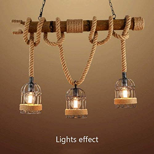 FHW Industrial Pendant Lighting Hemp Rope Ceiling Light Hanging Lamp Shade Industry Iron Metal Lamp Bamboo 3-Head Lights E27 Base chandelier