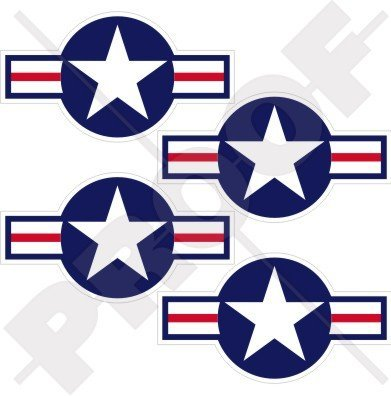 "UNITED STATES Armed Forces Aircraft Roundels USAF USMC US Navy 2.8"" (70mm) Vinyl Stickers, Decals x4"