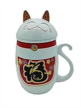 Et Parfait Garder Pour Touantouan Couvercle Infuser Chat Chaud Mug Avec Au Superbe Maneki Neko Ibfv76gYy
