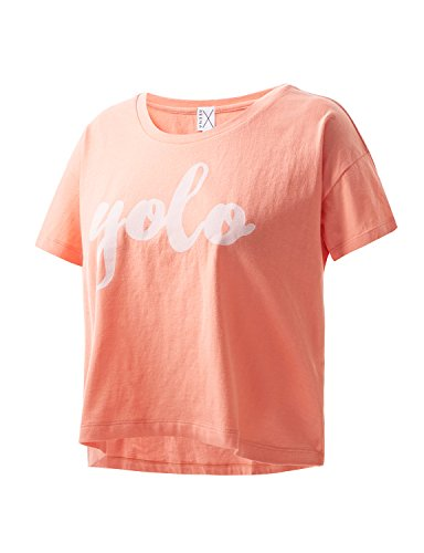 REGNA X ADOONGA Women's Round Neck Short Sleeve YOLO Printed Loose Fit Coral Pink Crop Top T-shirt