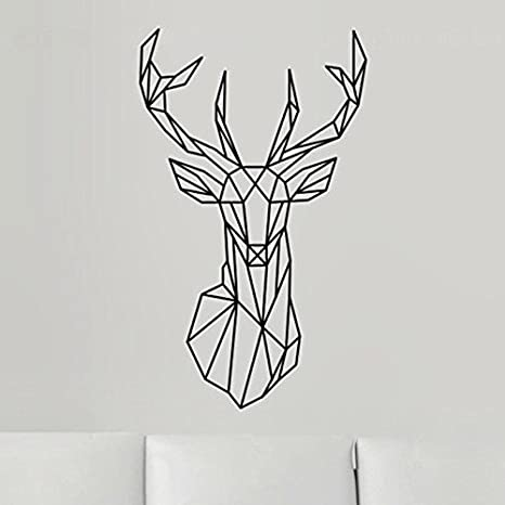 Black New Design Geometric Deer Head Wall Sticker Geometry Animal Decals Vinyl Wall Art Custom Home Decor Mural Animal Deer Decal for Kids Children Room A-132