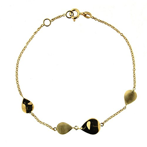 18K Yellow Gold two satin and two shiny tear drops bracelet 7 inch with extra ring at 6.5 inches by Amalia