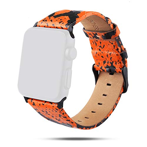 Vintage Leather Bands Sports Dressy Replacement Straps Compatible with Apple Watch Series Sweatproof (Orange, Free)