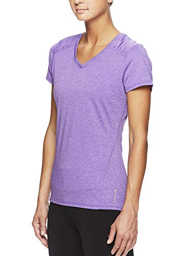HEAD Women's Brianna Shirred Short Sleeve Workout T-Shirt - Marled Performance Crew Neck Activewear Top - Brianna Chive Blossom Heather, X-Small by HEAD (Image #2)