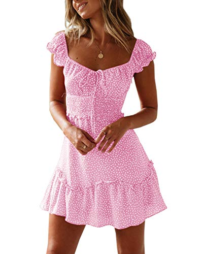 Valphsio Womens Scoop Neck Polka Dot Dress Ruffle Hem Short Sleeve Mini Dress Pink