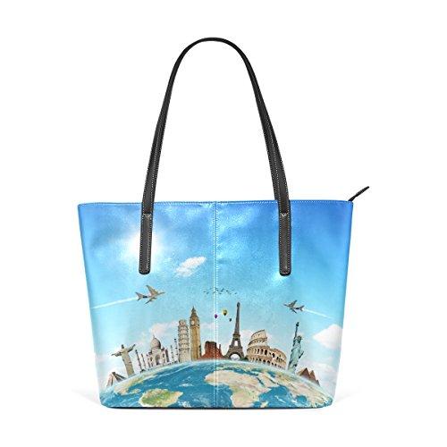 COOSUN Travel Die Welt Wolken Flugzeug PU Leder Schultertasche Handtasche und Handtaschen Tasche für Frauen