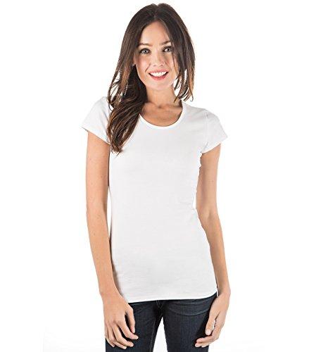zhAjh Womens Cotton Spandex Mercerized Scoopneck Short Sleeve Tee T-Shirt (White,Medium)