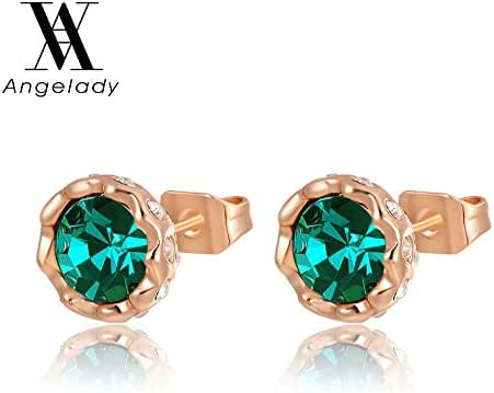 Angelady Fashion Jewelry 18k Rose Gold Plated Cubic Zirconia Halo Stud Earrings