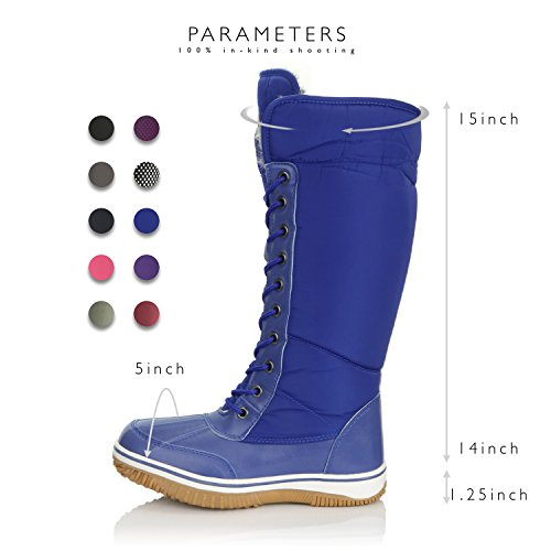 Resistant 2 D'Cor Eskimo Cowboy Snow Fur Blue DailyShoes Warm Zipper up High Women's Water Knee Tone Royal Boots qUYt7g