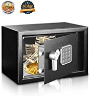 SereneLife Safe Box Security for Firearms Documents, Jewelry Includes Keys Compact 9.1 x 6.7 x 6.7 inches (SLS