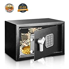 Serene Life Model: SLSFE12Electronic Home & Office Safe Compact Electronic Safe Box with Digital Touch Pad, Mechanical Override, Includes Keys Features: Heavy-Duty, Rugged & Reliable Safe Box Electronic Lock System with Mechanical Ove...