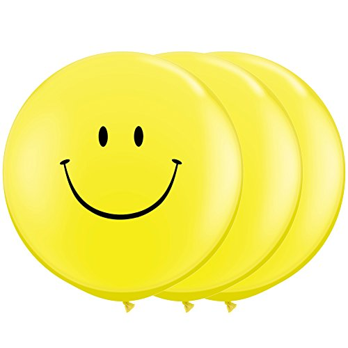 Aligle 36 Inch Giant Smile Balloon yellow (Premium Helium Quality) Pkg/3,Weddings and parties Creative decoration balloons ()