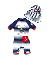 BONVERANO Baby Boy One-Piece Swimsuit UPF 50+ Come with a Hats