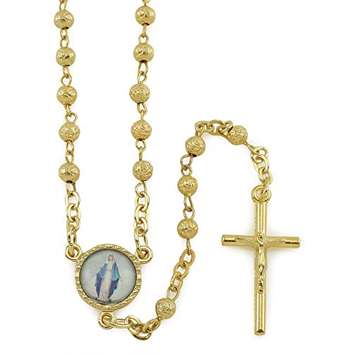 (Gold Tone Rosary with Rosebud Beads)