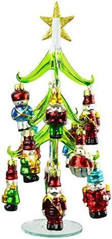 Red Green Christmas Tree Nutcracker Glass 10 inch Decorative Tabletop Figurine