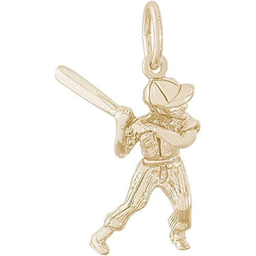 Player Charm Gold Plated (Rembrandt Charms Male Baseball Player Charm, Gold Plated Silver)